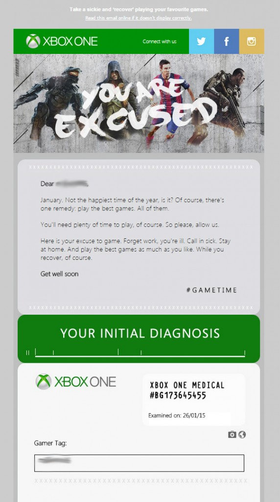 Click on image to see full size of Xbox email.